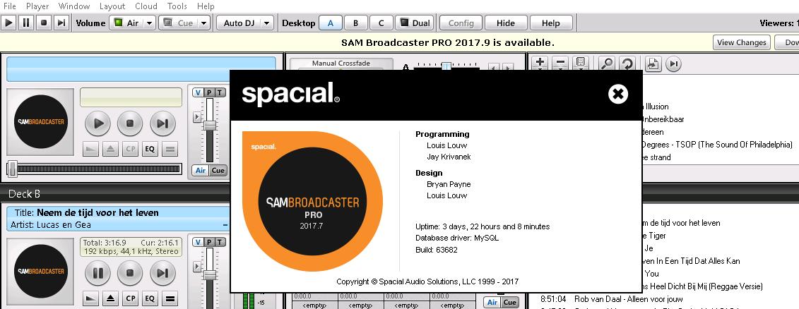 Sam Broadcaster Pro nieuwe versie 2017.9 (2 October 2017)