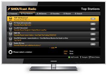 SHOUTcast applicatie op nieuwe Samsung TV's